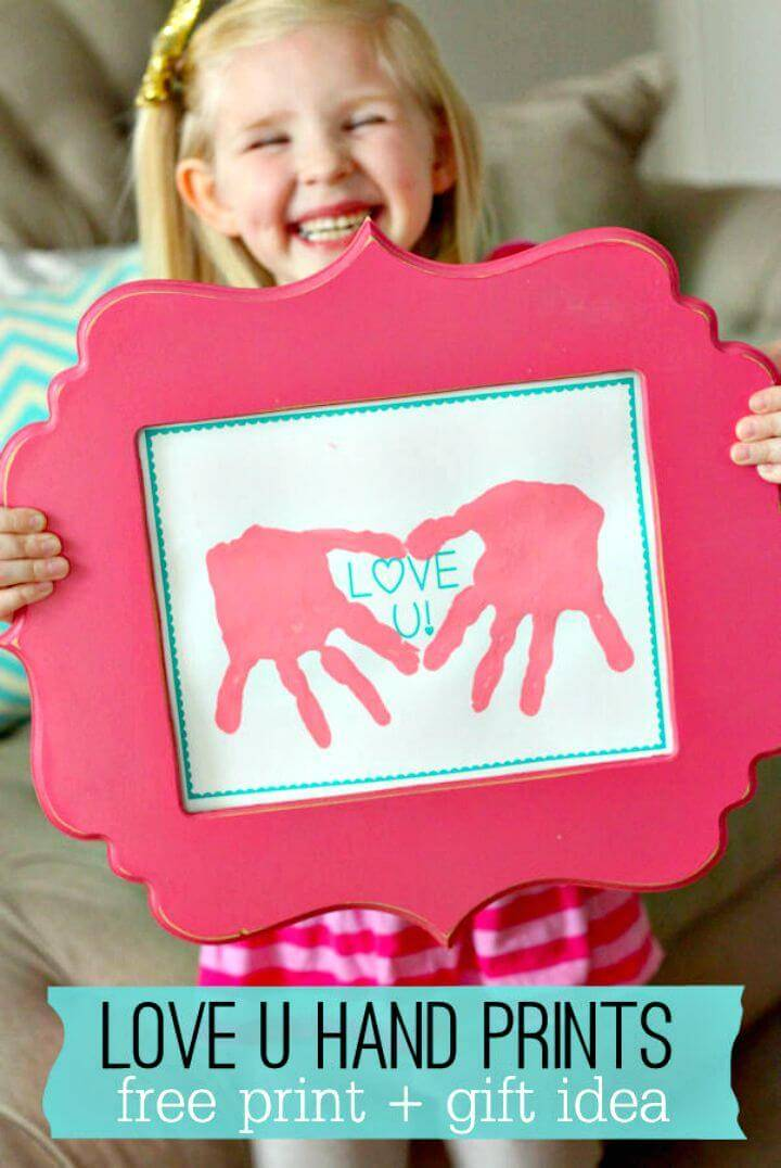 DIY Love U Hand Prints Mother's Day Gift