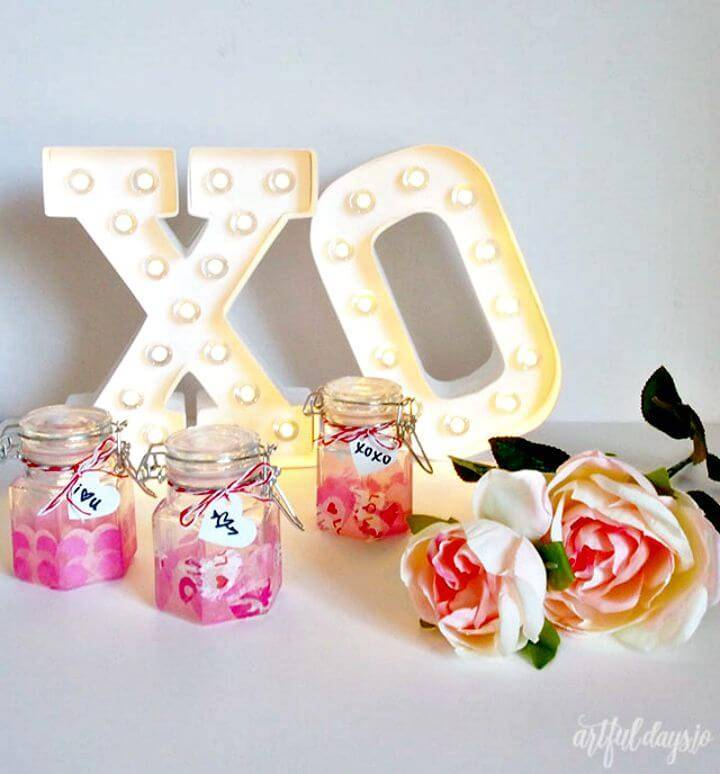 DIY Mini Mason Jar Valentines