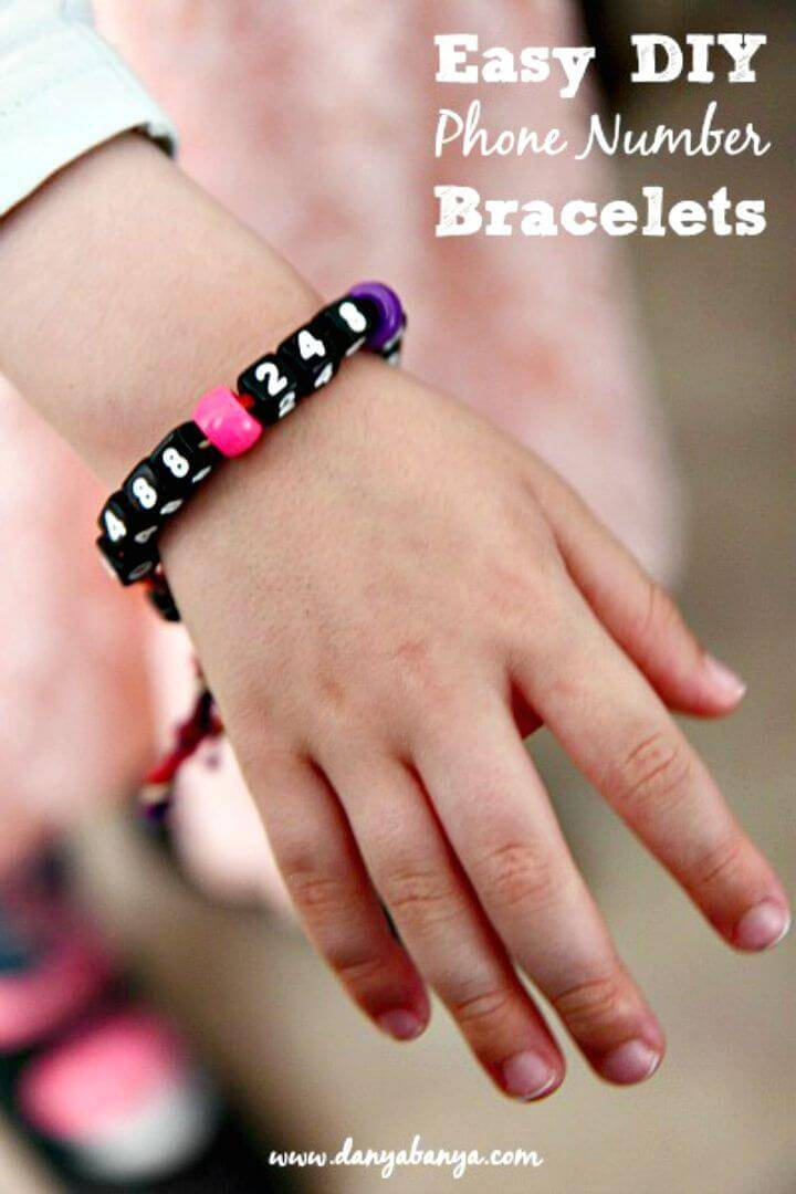 Cute DIY Phone Number Bracelets