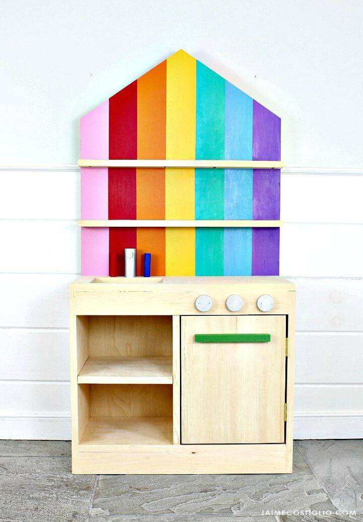 Cute DIY Play Kitchen with Back Wall