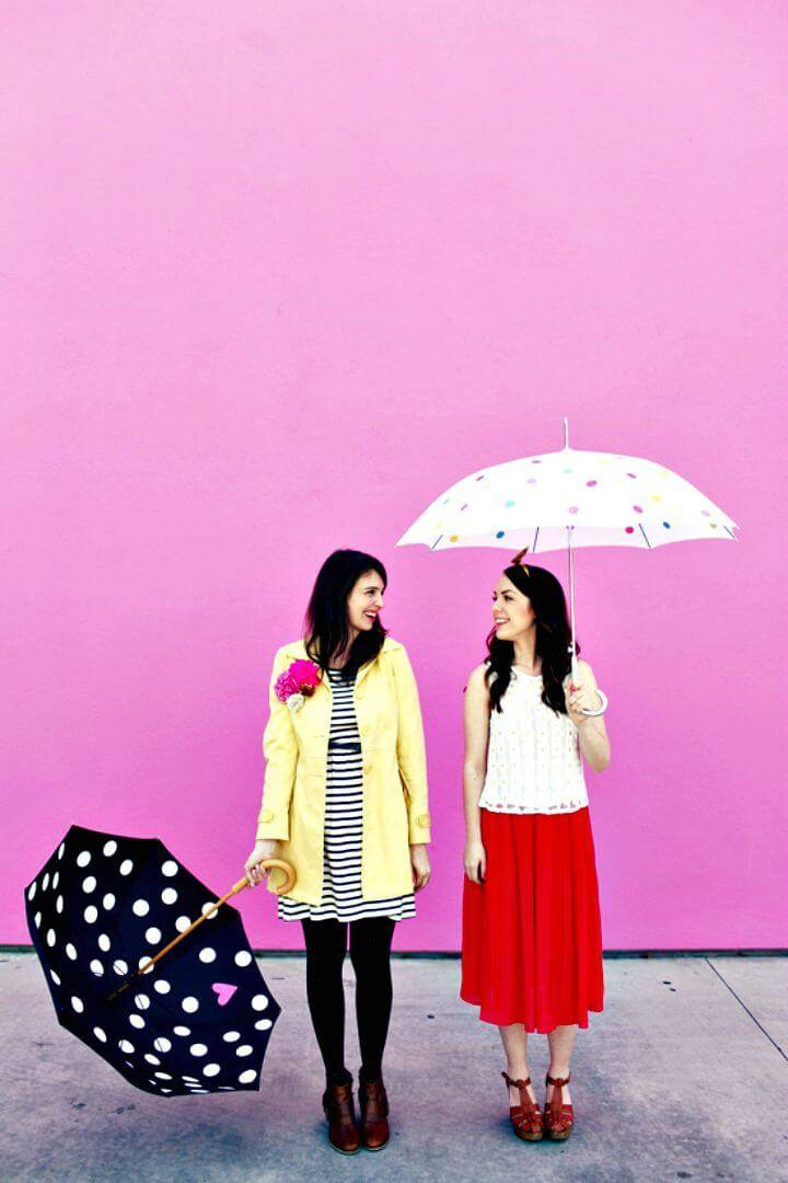 DIY Polka Dot Umbrellas for Rainy Day