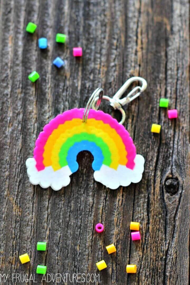 Cute DIY Rainbow Perler Bead Key-chain