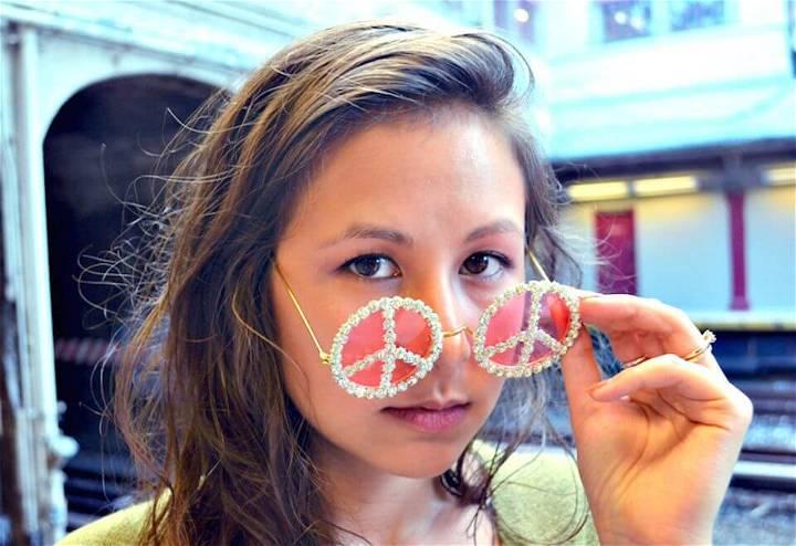 Cute DIY Rhinestone Peace Sunglasses
