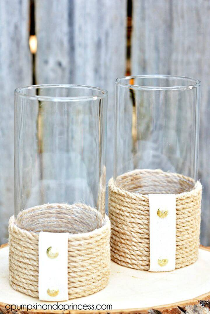 Make Rope Hurricane Vase - Coastal Decor