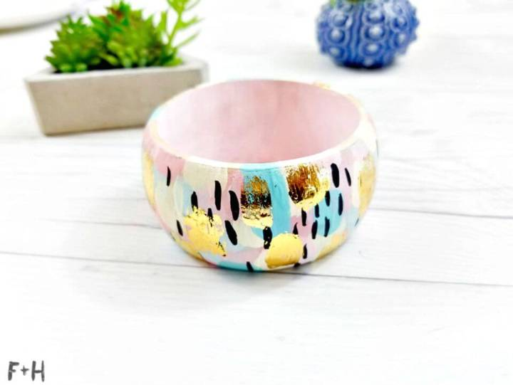 DIY Abstract Painted Wood Bangle Bracelet