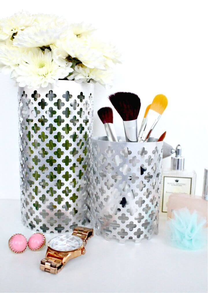 DIY Aluminum Vase Makeup Brush Holder