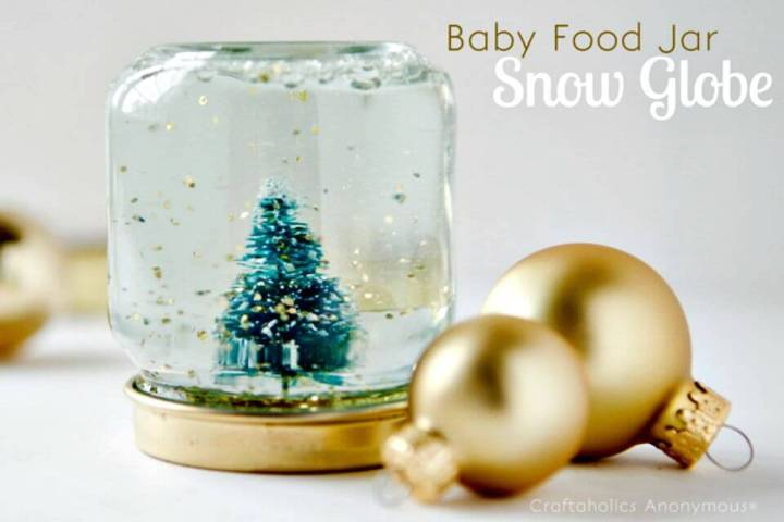 DIY Baby Food Jar Snow Globes - Mothers Day Gifts