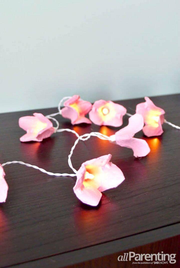 DIY Blossom Fairy Lights - Egg Carton Crafts