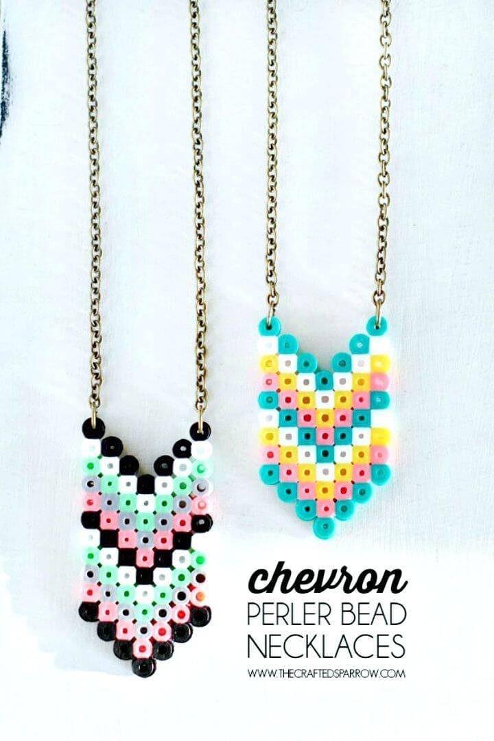 How to Make Chevron Perler Bead Necklaces