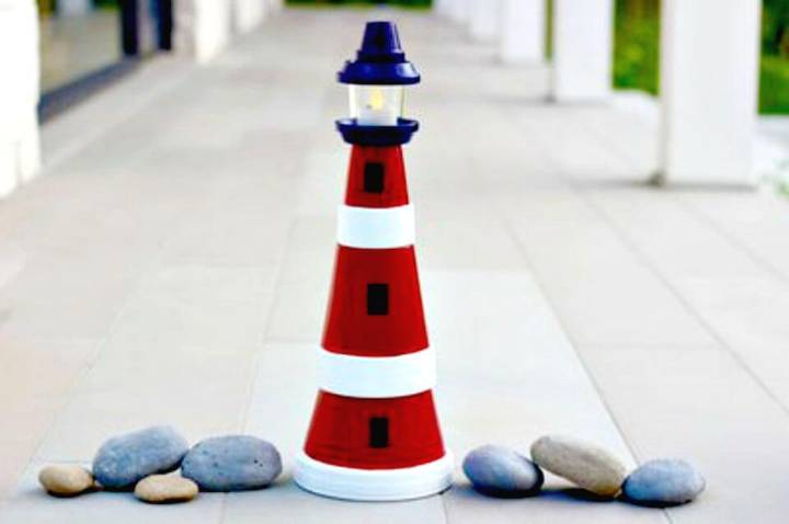 DIY Clay Pot Lighthouse Tutorial