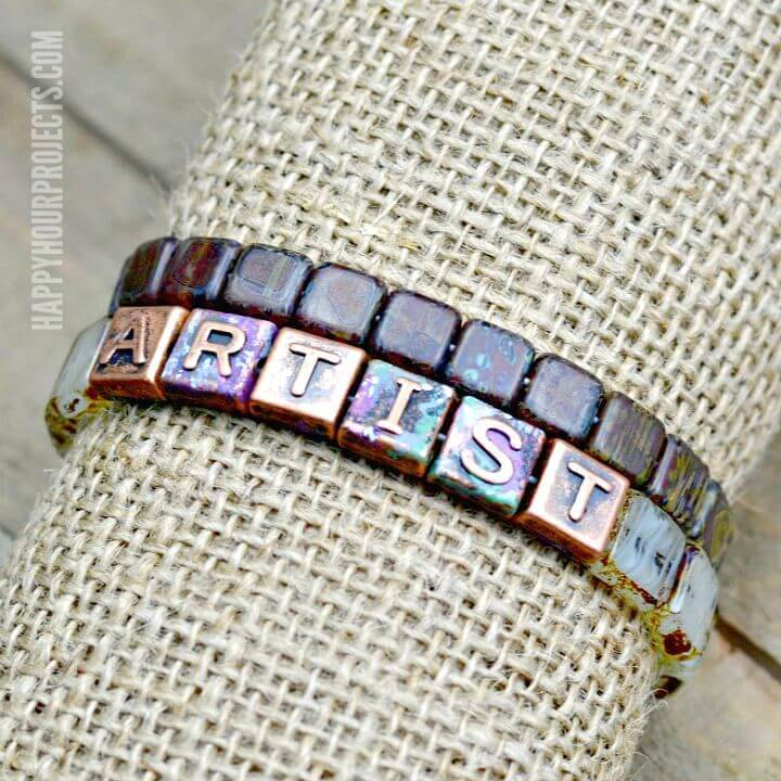 How to DIY Copper + Glass Artist Bracelet