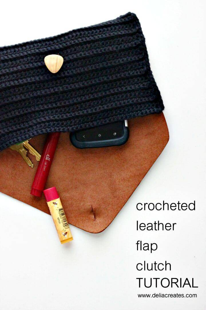 DIY Crocheted Leather Flap Clutch