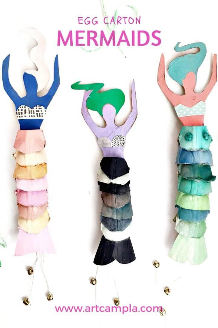 DIY Egg Carton Mermaid Dolls for Little Princess