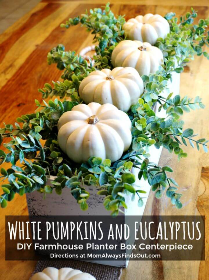 How to DIY Fall Decor - Wooden Box Centerpiece With Pumpkins