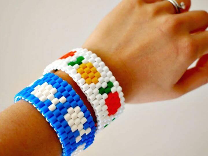 Simple DIY Fish Perler Bead Stretch Bracelet