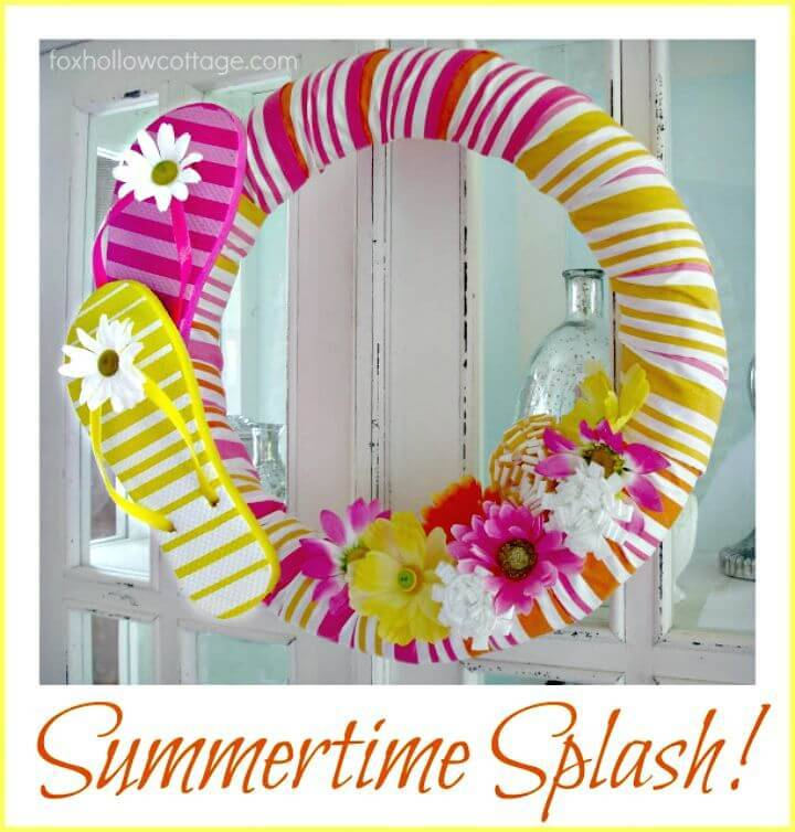 DIY Flip Flop Summer Pool Noodle Wreath