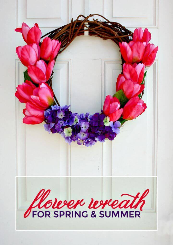 DIY Flower Wreath - Tulips and Hydrangeas for Summer