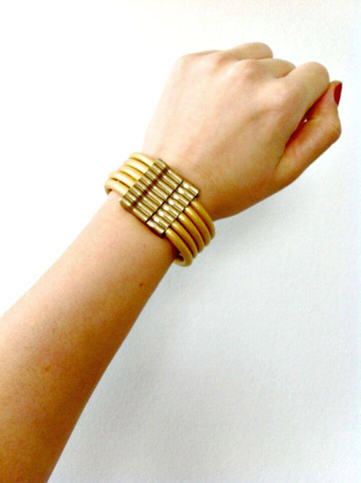 DIY Gold Leather Cord Bracelet - Homemade Jewelry Ideas