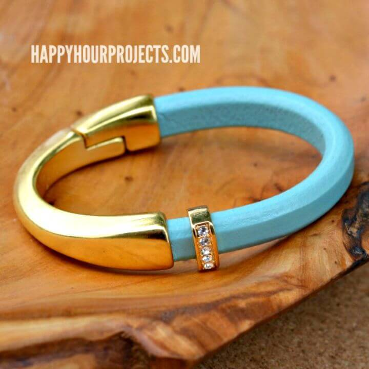 DIY Gold & Leather Curved Clasp Bracelet