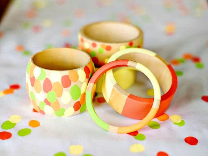 DIY Hand-Painted Wooden Bracelets - Mother's Day Kids' Craft
