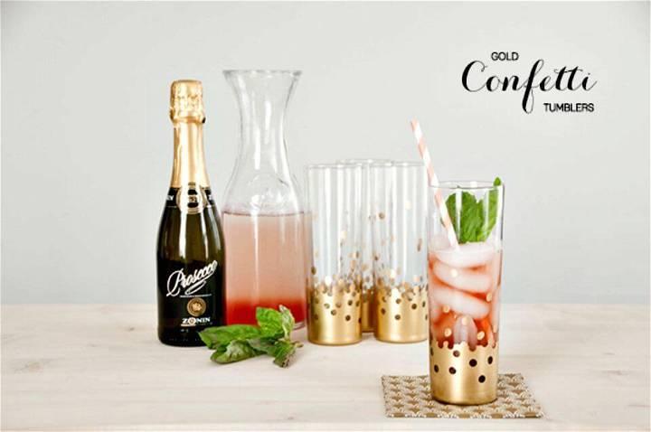 DIY Handmade Gold Foil Confetti Tumblers - Summer Party Decorations Ideas