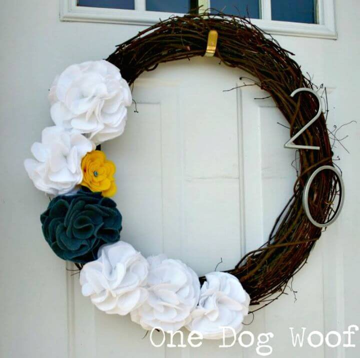 DIY House Number Door Wreath For Spring