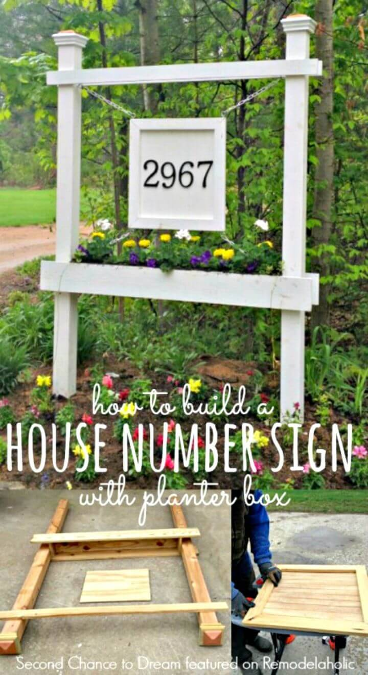 DIY House Number Sign And Planter Box