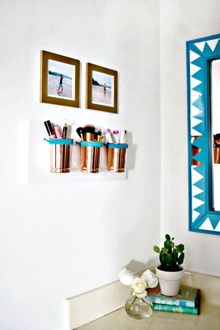 Leather + Copper Make-up Organizer - DIY Storage Ideas