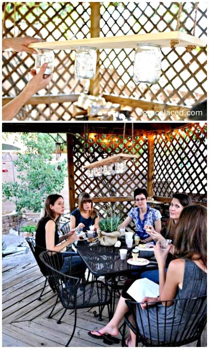 DIY Mason Jar Chandelier For The Arbor in Garden