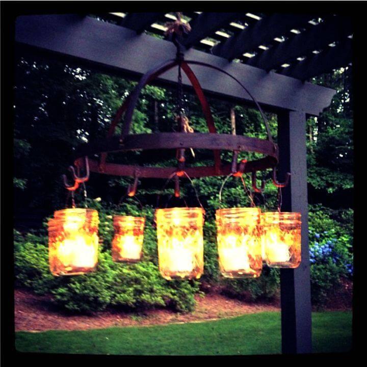 Make Mason Jar Outdoor Chandelier - DIY Lightning Ideas