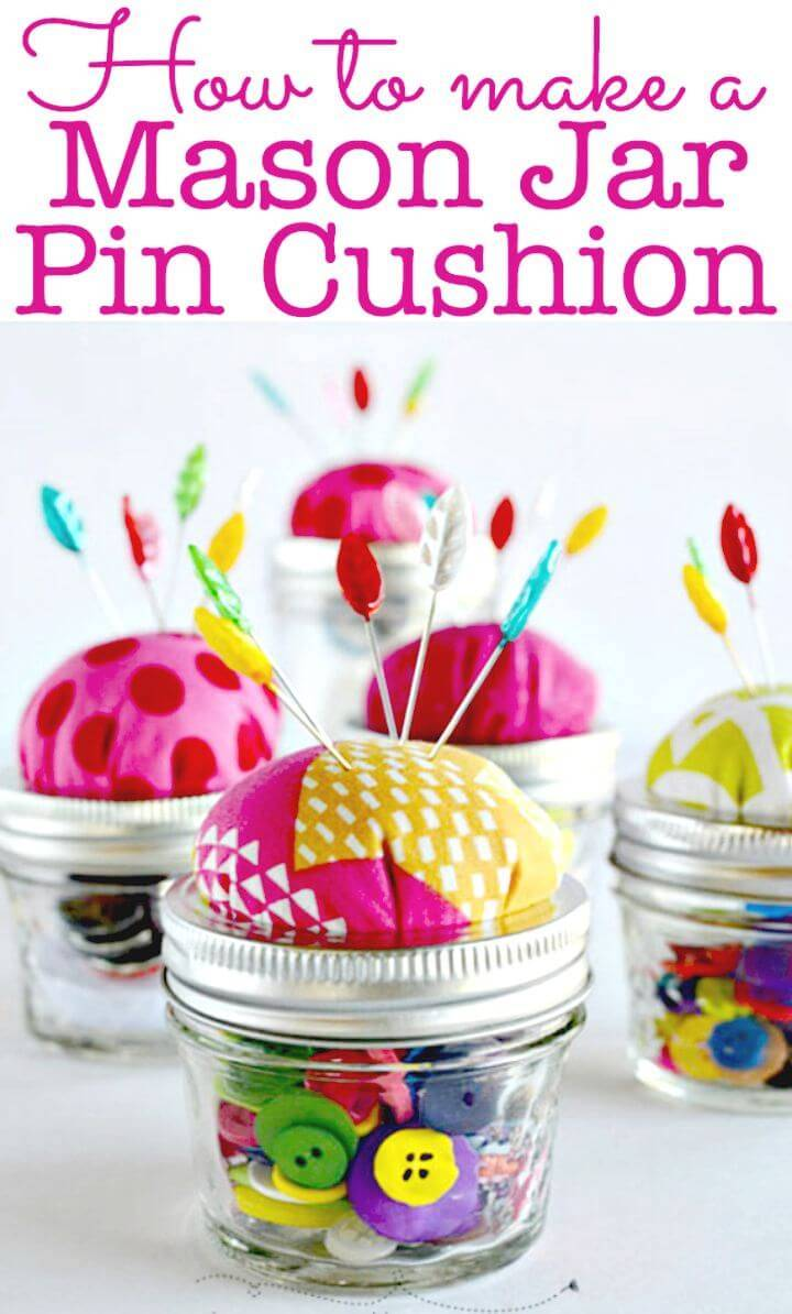 DIY Mason Jar Pin Cushion Tutorial