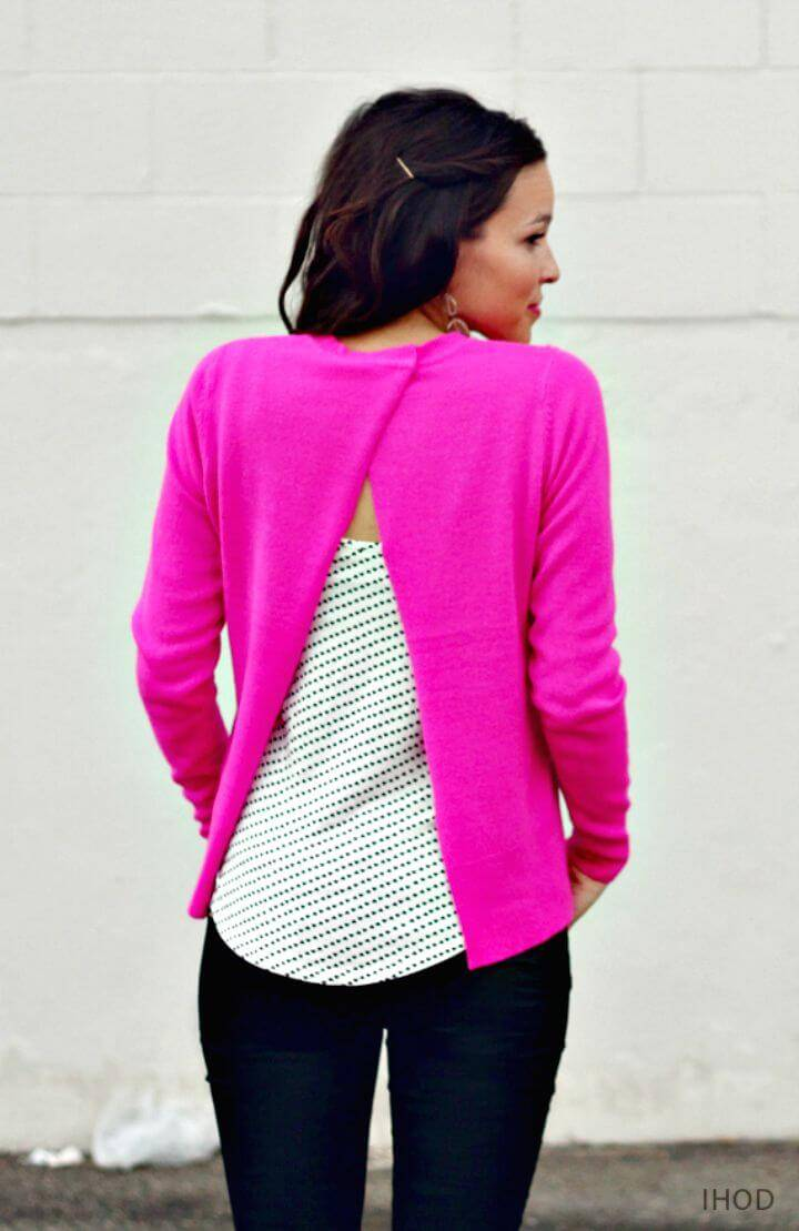 DIY No Sew Open Back Sweater
