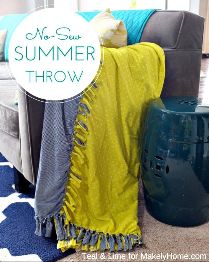 DIY No-sew Color Block Summer Throw Blanket