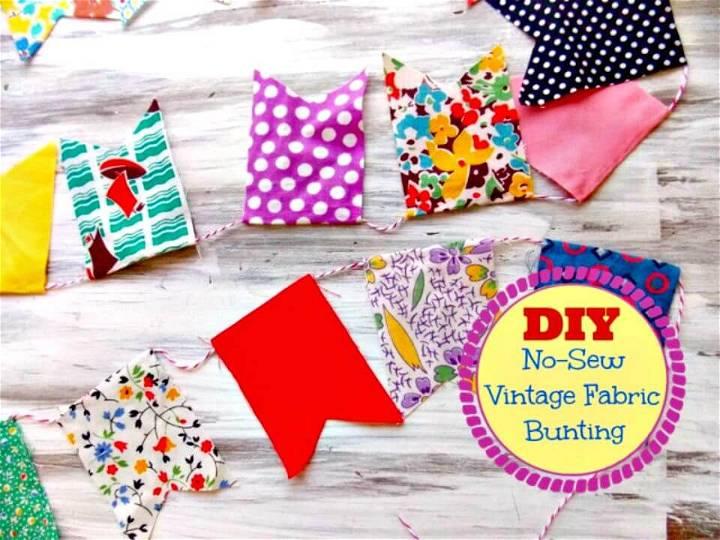 DIY No-sew Vintage Fabric Bunting