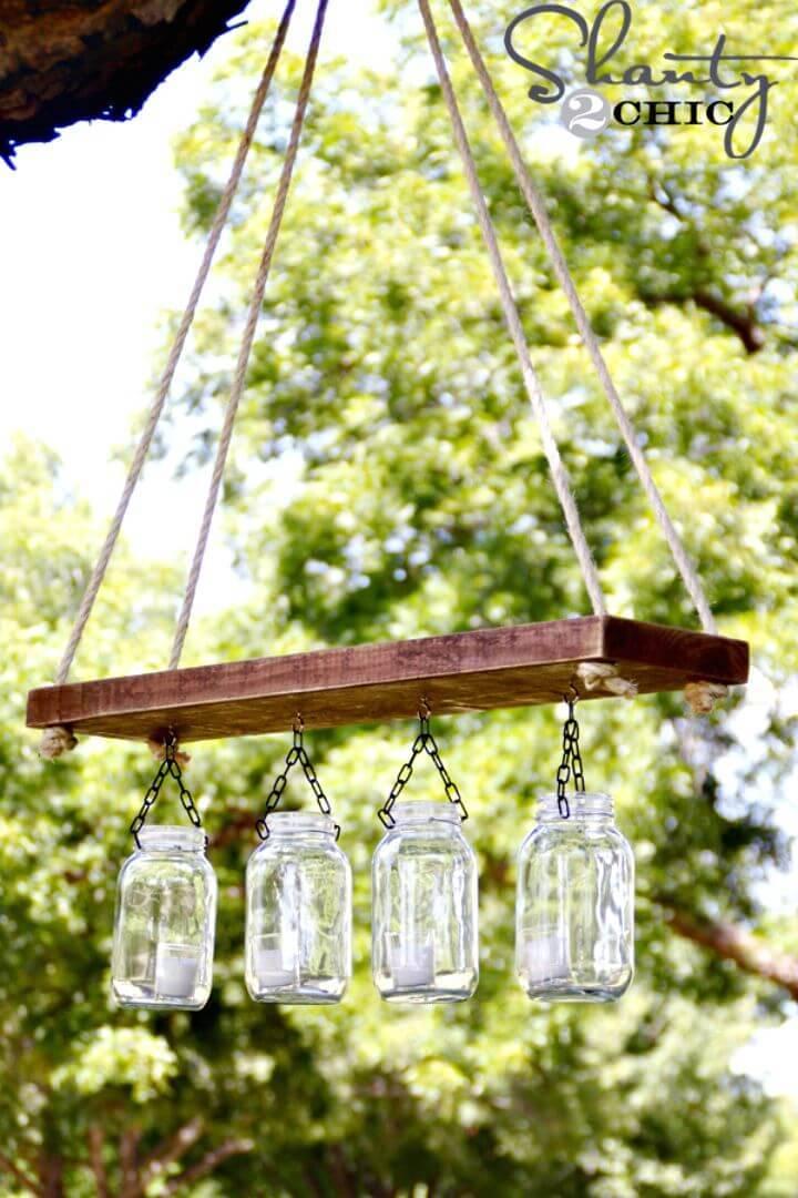 DIY Outdoor Mason Jar Chandelier For $10