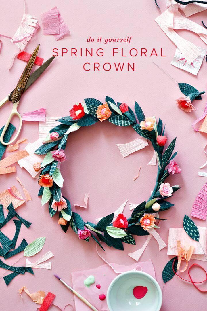 DIY Paper Spring Floral Crown for Spring