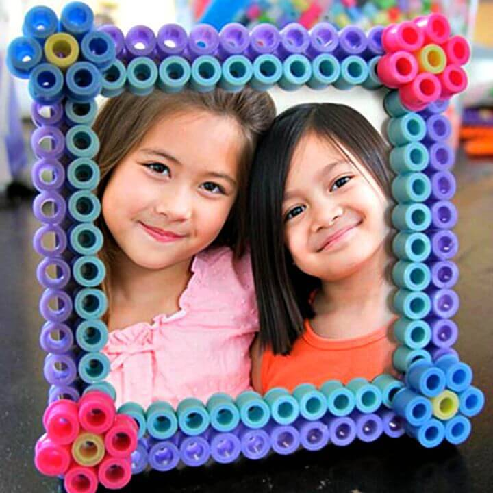 "DIY Perler Bead ""BFF"" Picture Frame Craft for Kids"
