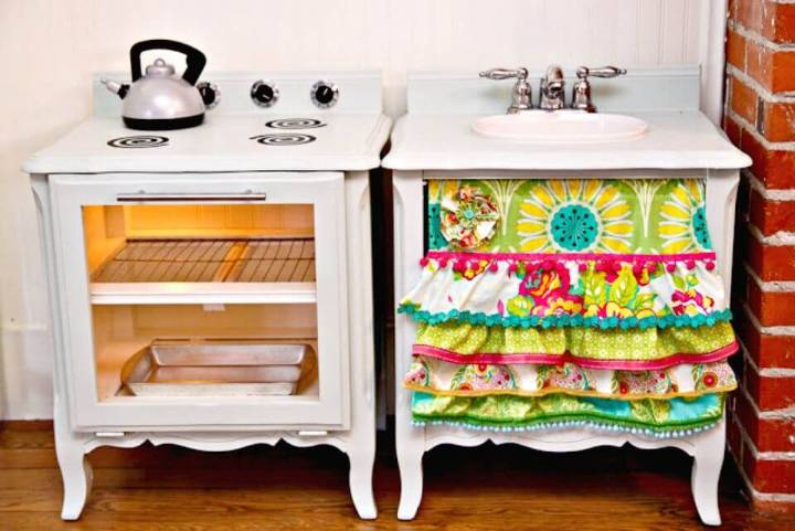 DIY Play Kitchen Set Out Of A Pair Of Nightstands