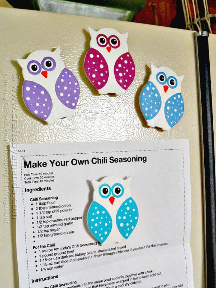 Cute DIY Polka Dot Owl Magnets