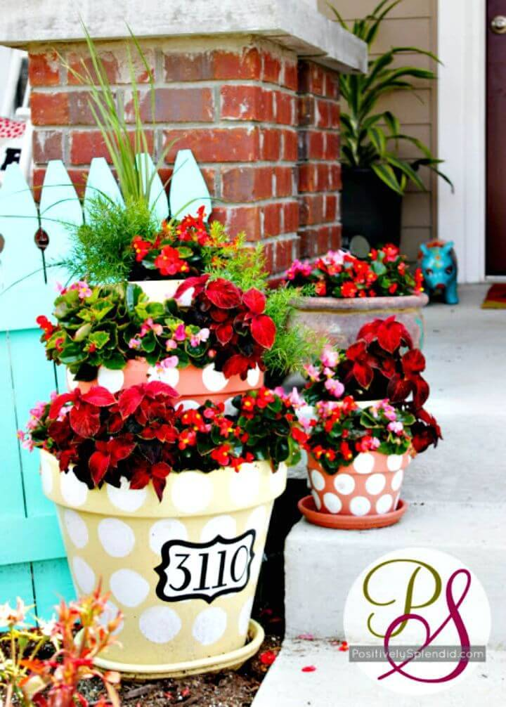 Beautiful DIY Polka Dotted Tiered Planters House Number