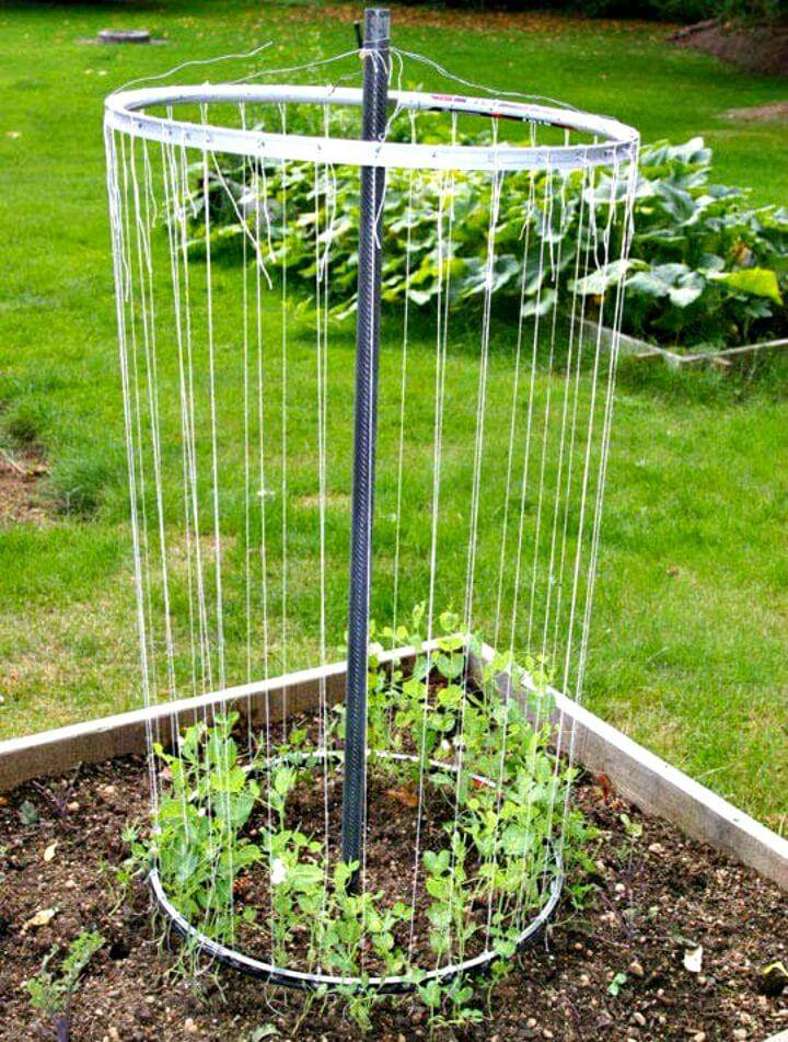 Easy DIY Recycled Bike Wheel Garden Trellis