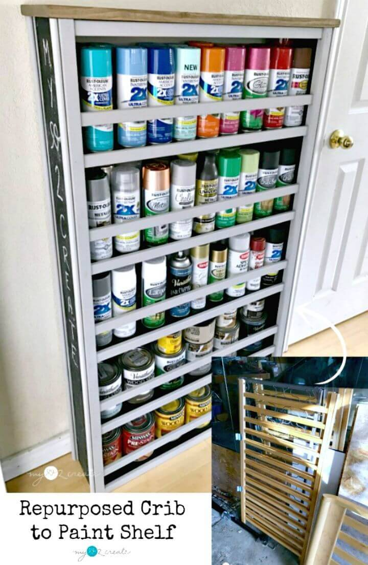 DIY Re-purposed Crib Paint Shelf