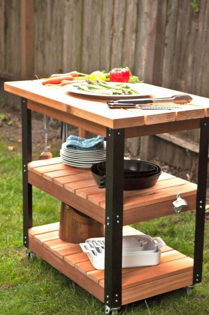 DIY Rolling Grill Cart and BBQ Prep Station