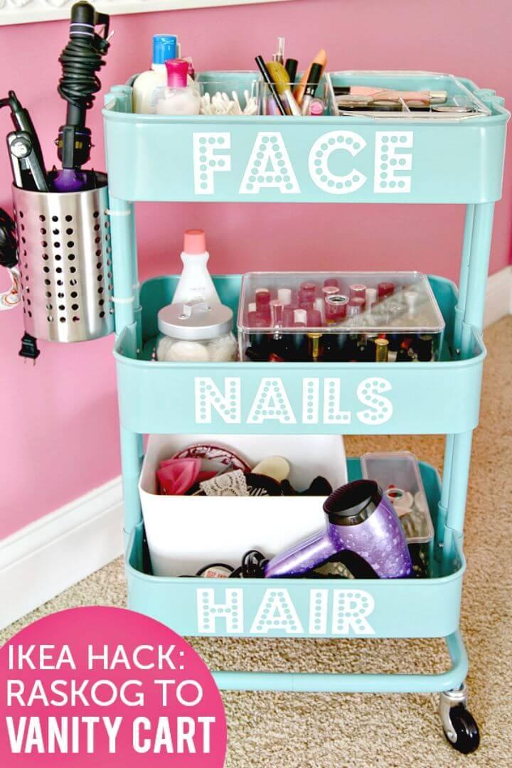 DIY Rolling Vanity - Makeup Organizer IKEA Raskog Hack