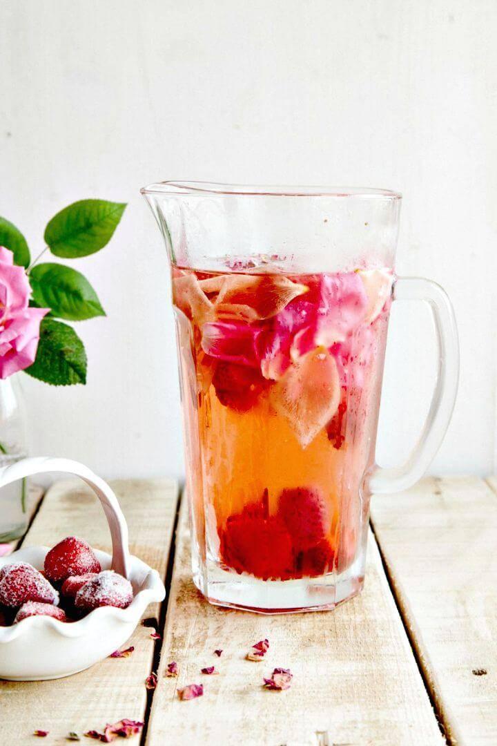 DIY Rose, Lemon & Strawberry Infused Water