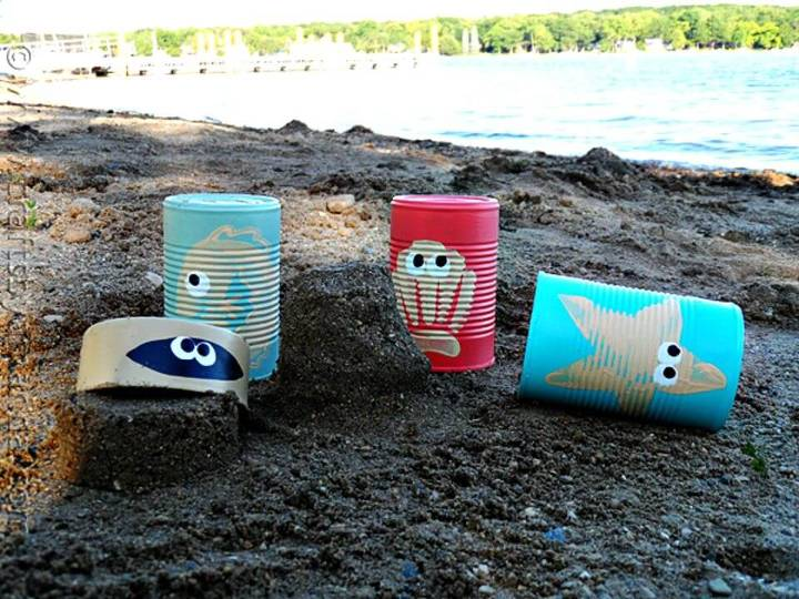 Simple DIY Sea Creature Sand Castle Cans