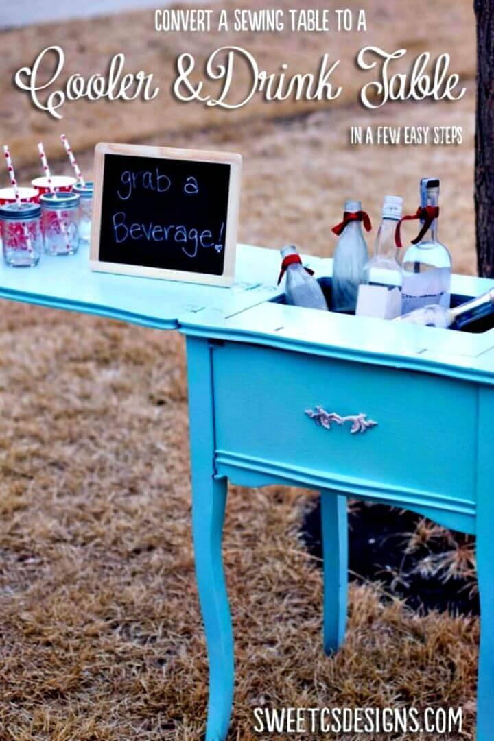 DIY Sewing Table Turned Party Cooler & Drink Table