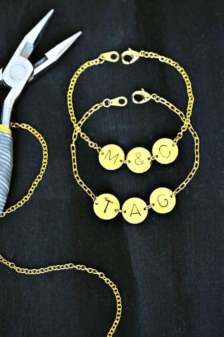DIY Stamped Initial Bracelets