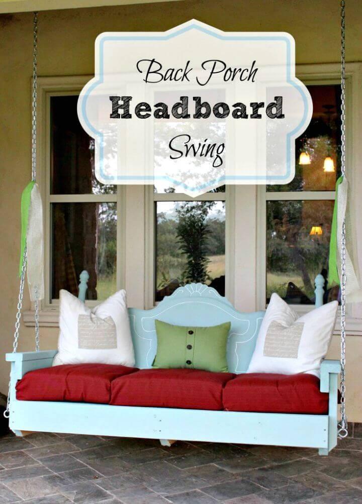 DIY Summer Back Porch Headboard Swing