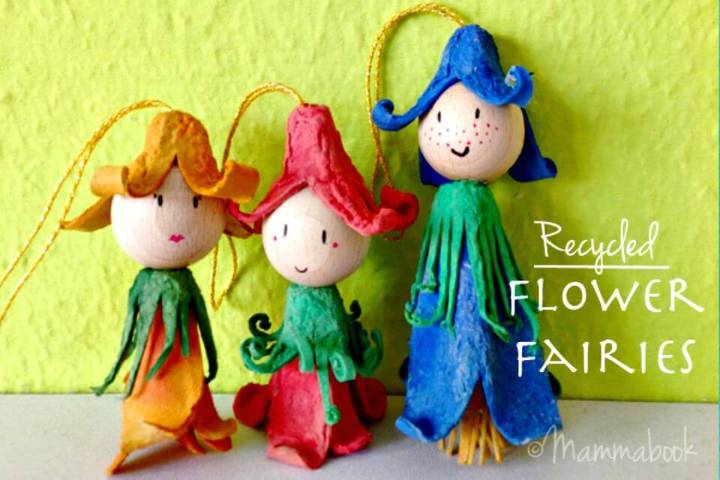 DIY Up-cycle Egg Cartons Into Flower Fairies
